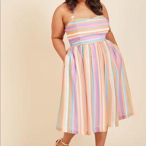 ModCloth Plus rainbow striped halter dress EUC